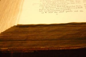 Early edition Bible on display at the Dunham Bible Museum at Houston Baptist University